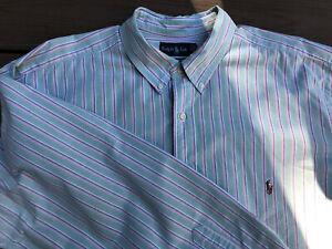 Men's Ralph Lauren Size 2XB Big Dress Shirt Nice Green Pattern - Very Nice