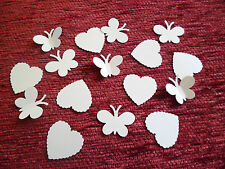 125 BUTTERFLY & HEART WEDDING TABLE SPRINKLES CONFETTI DECORATION PEARL IVORY