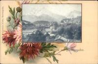 Gruss Aus Berchtesgaden - Pretty Floral Border c1900 Postcard jrf