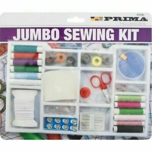 JUMBO SEWING KIT ASSORTED THREAD NEEDLES SCISSORS COTTON HOBBY BUTTONS PINS