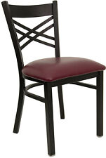 NEW RESTAURANT METAL CHAIRS Cross Back VINYL PADDED SEAT, They Last Forever
