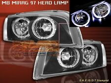1997-2001 MITSUBISHI MIRAGE HEADLIGHTS TWO HALO JDM BLACK 1998 1999 2000