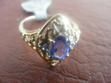 NEW HARRY IVENS YELLOW GOLD TANZANITE RING SIZE 6.5