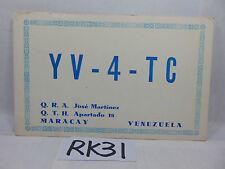 VINTAGE QSL CARD AMATEUR RADIO POSTAL HISTORY 1968 MARACAY VENEZUELA STAMP