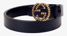 NWOT GUCCI STUDDED INTERLOCKING G Buckle Black Leather Belt 110-44 #282323