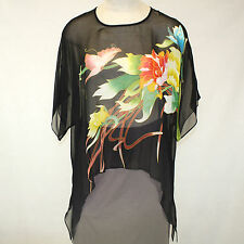 NEW NWT Cocoon House Fascination Art Georgette 100% Silk Pointed Top Large / XL