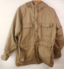 WOOLRICH Mens Parka Size M Vintage hooded Cinch Waist Plaid Khaki Tan Rain