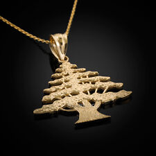 Gold Cedar Tree Of Lebanon Pendant Necklace - Unisex