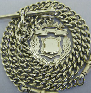 Antique Solid Silver Double Albert Pocket Watch Chain t-Bar & Fob Bir 1921