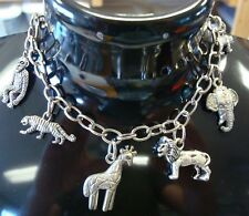 Circus charm bracelet anklet antique silver plated metal adj large lobster clasp