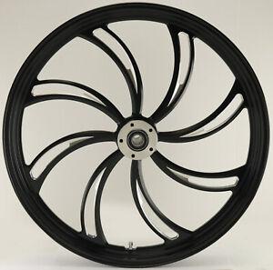 "Vortex ""Black Cut"" CNC 23"" x 3.5"" Dual Disc Front Wheel for Harley Custom Models"