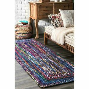 Rug 100% Natural Cotton Reversible Rustic look Rug Braided style Area Runner Rug