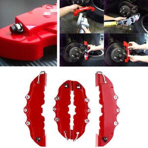 4PCS Car Disc Brake Caliper Cover 3D Red Brake Cover Front & Rear Fit 18-24Inch