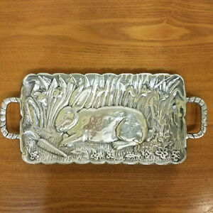 Embossed 3D Bunny Rabbit Pewter Serving Tray With Handles Stamped 1247