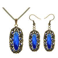 Vintage Stil dunkelblau antik gold Schmuckset Tropfen Ohrringe & Halskette S919