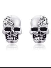 Skull shaped 925 silver stud earrings butterfly back jewellery present gift