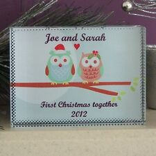 Owl Couple Christmas Crystal - Personalised First Christmas Married or Engaged