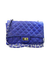 QUILT QUILTED SILVER CHAIN STRAP LEATHER PURSE BAG BLUE QUILTING DUAL INTERIOR