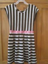Girl BLACK AND WHITE STRIPED NET MESH FABRIC OVERLAY DRESS EUC 10 12
