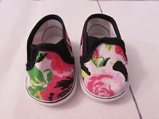 Pink Floral Slip On Tennis Shoes  for American Girl & Kidz N Cats Dolls 6