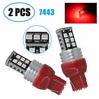 2x 7443/7440 LED Rear Tail Brake Stop Parking Light Bulbs Red High Power Bulbs