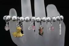 Pet Lovers Dog Charm and Bead Stretch Bracelet