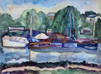 Boote am Ufer Kollmarsreute Emmeningen Baggersee Aquarell Expressiv Anonym