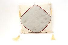 Pair Oriental Silk Chinese Cushion Pillow and  Covers 16 x 16 - Cream +Tassles