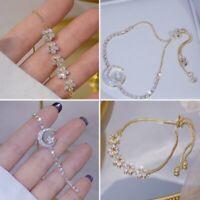 2021 Gold Zircon Rhinestone Flower Bracelet Adjustable Bangle Women Jewelry Gift