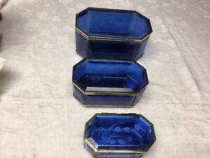 Antique Leaded Blue Glass Set Trinket Bixes EXQUISITE TRIO