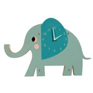 Wooden Elephant Clock Elvis the Elephant Wall Blue Clock - Kids Room Decor