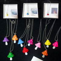 Women Retro Necklace Colorful Mushrooms Sweater chain Jewelry Gift Cute Charm