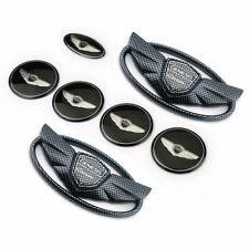 7pcs Carbon Fiber Genesis Glossy Badge Emblem Trunk Grille Steering Wheel Center