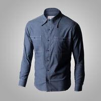 Repro WW2 USN Chambray Work Shirts Naval Men's Cotton Workshirt Fatigue Tops