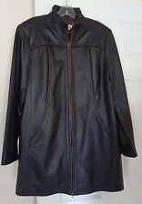 COLDWATER CREEK MEN'S BLACK NAPPA LEATHER COAT LINED W/BROWN LEATHER TRIM SZ:L