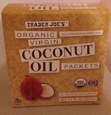 1 Box Trader Joe's Organic Virgin Coconut Oil Packets 14 - 0.51 FL. OZ. Packets