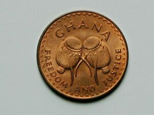 """Ghana AFRICA 1967 1 PESEWA Coin AU Toned-Lustre with Drums """"Freedom and Justice"""""""