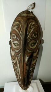 Antique Wooden Tribal Papua New Guinea Mask Board Carving