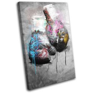 Graffiti Boxing Gloves Grunge Sports SINGLE CANVAS WALL ART Picture Print