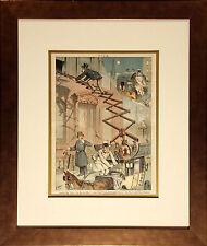 Puck Magazine Hook and Ladder Original Vintage Illustration with New Frame