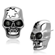Large Skull Earrings Stainless Steel Studs with Black Crystals 31mm x 20mm