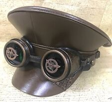 SDL Steampunk Leather look Military Hat & Clock Goggles In Green Lens 57,58,59cm