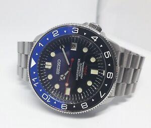 Mens Watch Seiko SKX Mod Deep Sea Dial Custom Batman Bezel Automatic Watch