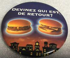 Vintage McDonald's Quebec Promo Button Pinback GUESS WHO'S BACK ? Double Big Mac