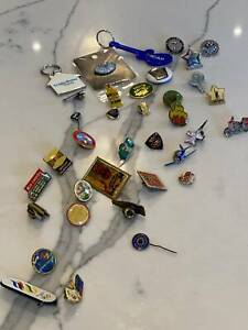 BULK LOT of 36 Vintage & Contemporary Badges, Lapel Pins & Others
