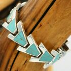 Vtg Mexico Sterling Turquoise Modernist Panel Link Necklace 60 Grams TAXCO