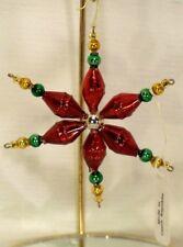 Mold Blown Beaded Glass~Red/Green/Gold Star ~Christmas Ornament~Czech Republic