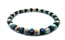 Mens beaded bracelet stone wooden beads jewelry stretch cuff wristband gift