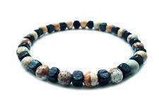 men's bracelet elastic stretch beaded Jasper stone wooden beads surfer gift men
