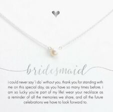 Bridesmaid Gift Pearl Necklace on Message Card Choker Jewellery favour Gift